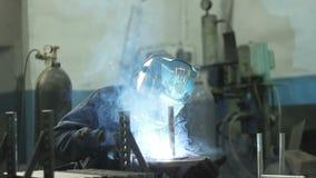 Welding metal parts stock footage