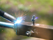 Welding  metal  process Royalty Free Stock Images