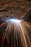 Welding metal. Production and construction. Welding metallic object . Production and construction Royalty Free Stock Photo