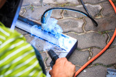 Welding metal with spark Royalty Free Stock Photography