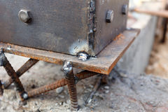 Welding metal and wood by electrode with bright electric arc Stock Images
