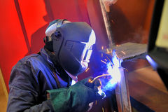 Welding with mig-mag method. Welding  working with with mig-mag method in factory Royalty Free Stock Photos