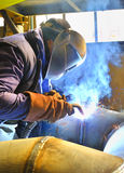 Welding with mig mag method royalty free stock photography