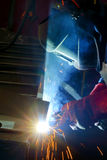 Welding with mig-mag method. Shoot inside of factory Stock Image