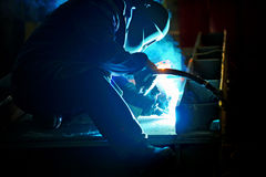 Welding with mig-mag method Stock Photos