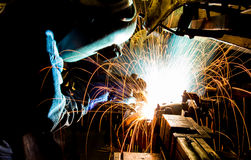 Welding with mig-mag method Royalty Free Stock Photography