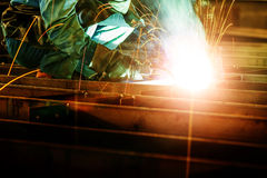 Welding with mig-mag method Stock Photography