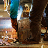 Welding with mig-mag method Royalty Free Stock Images