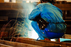 Welding with mig-mag method Royalty Free Stock Photo