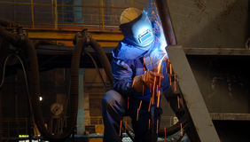 Welding with mig-mag. In steel plant Stock Images