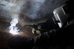 Welding night sparks Stock Photography