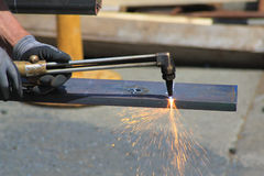 Welding with a oxy acetylene cutting torch Royalty Free Stock Photo