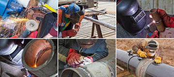 Welding of parts and elements of pipelines Stock Photos