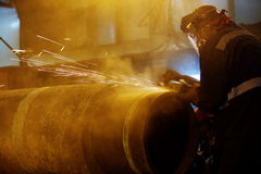 Welding of the pipeline Stock Photography