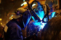Welding of the pipeline Stock Image