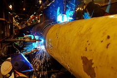 Welding of the pipeline. Stock Images