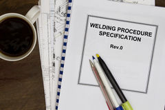 Welding procedure specification. Manuals concept in the oil and gas industry Royalty Free Stock Photography