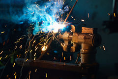 Welding process for metal Stock Image