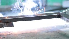 Welding process metal profiles stock video
