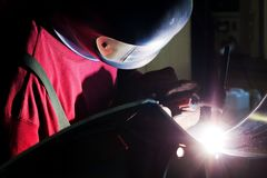 Welding in protective atmosphere of gases Stock Photos