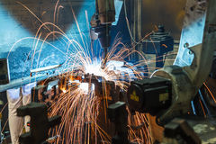 Welding Robot movement Stock Photography