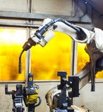 Welding robots in factories industrial Royalty Free Stock Photos