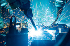 Welding robots movement Stock Photo
