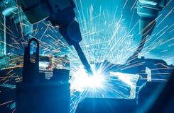 Welding robots movement Stock Photo