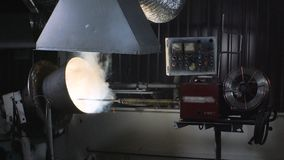 Welding robots movement in a weld for the trommel screen. Overlay welding resistance on the base surface stock video