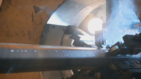 Welding robots movement in a wild for the creation stock footage