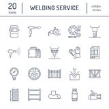 Welding services flat line icons. Rolled metal products, steelwork, stainless steel laser cutting, fabrication, turning. Works, safety equipment, powder coating Royalty Free Stock Photos