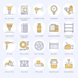 Welding services flat line icons. Rolled metal products, steelwork, stainless steel laser cutting, fabrication, turning. Works, safety equipment, powder coating Royalty Free Stock Photography