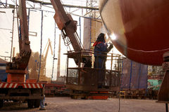 Welding on ship hull Stock Image