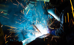 The Welding skill up use in product part automotiv Stock Photo