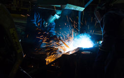 The Welding skill up use in product part automotiv. The working in Welding skill up use in product part automotiv Stock Images