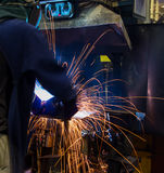 The Welding skill up use in product part automotiv. The working in Welding skill up use in product part automotiv Stock Photography