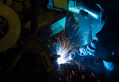 The Welding skill up use in product part automotiv Royalty Free Stock Photography