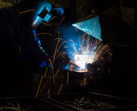 The Welding skill up use in product part automotiv. The working in Welding skill up use in product part automotiv Stock Photo