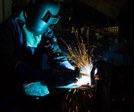 The Welding skill up use in product part automotiv. The working in Welding skill up use in product part automotiv Stock Photos