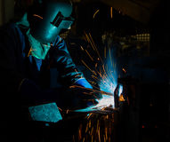 The Welding skill up use in product part automotiv. The working in Welding skill up use in product part automotiv Stock Image
