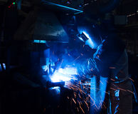 The Welding skill up use in product part automotiv. The working in Welding skill up use in product part automotiv Royalty Free Stock Photography