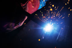 The welding spark light Royalty Free Stock Photography