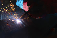 The welding spark light in close-up scene Royalty Free Stock Images