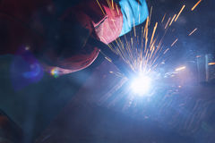 The welding spark light in close-up scene Stock Photo