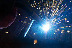 The welding spark light in close-up scene Royalty Free Stock Photos
