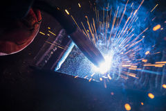 The welding spark light in close-up scene Stock Images