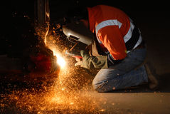Welding Sparks. Worker welding steel at an engineering works in Central Queensland, Australia stock photos