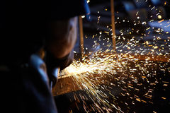 Welding sparks. With steel tools Stock Image