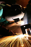 Welding sparks. Close up of a welder working on metal Royalty Free Stock Photo