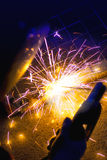 Welding sparks close up. Royalty Free Stock Photo